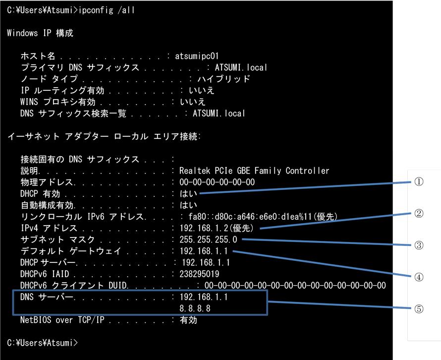 コマンド プロンプト ipconfig